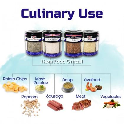 HEXA HALAL British 4IN1 Table Seasoning (85gM) Garlic, Chili, Black Pepper, Rock Salt