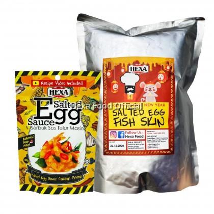 HEXA Salted Egg Fish Skin Chips 100gm High Quality + HALAL Salted Egg Sauce Powder Premix 80gm