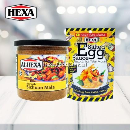 HEXA HALAL Sichuan Mala Rempah 150gm + HEXA Salted Egg Sauce Powder Premix 80gm