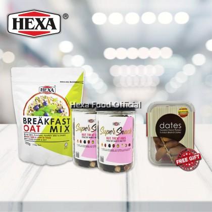 HEXA SAHUR SET 1: HEXA Breakfast Oat Mix 350g*1 + HEXA NUT TREAT IOUS 300g*2 + (FREE GIFT) HEXA Delish Tunisian Branch Dates 250gm*1