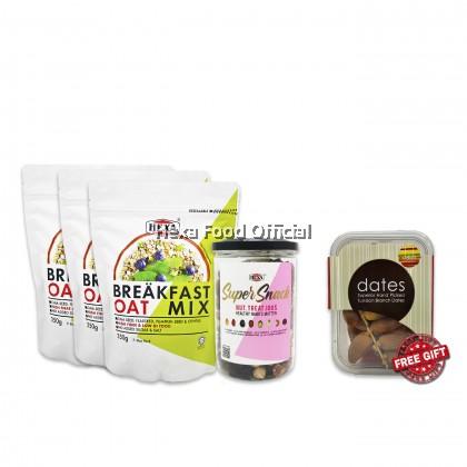 HEXA SAHUR SET 2: HEXA Breakfast Oat Mix 350g *3 + HEXA NUT TREAT IOUS 300g *1 + (FREE GIFT) HEXA Delish Tunisian Branch Dates  250g*1