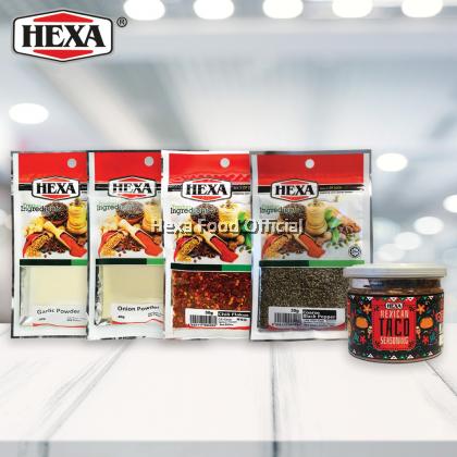HEXA MEXICAN TACO SEASONING 90g + HEXA GARLIC POWDER 40g + HEXA ONION POWDER 40g + HEXA HALAL Chili Flakes #103 30g + HEXA BLACK PEPPER COARSE 30g #102